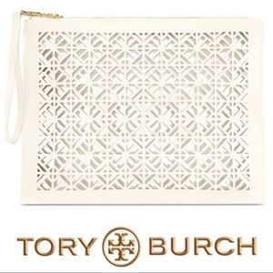 Tory Burch Pearl White Clutch Perforated BRAND NEW